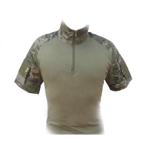 Camiseta de combate manga corta boscoso pixelado